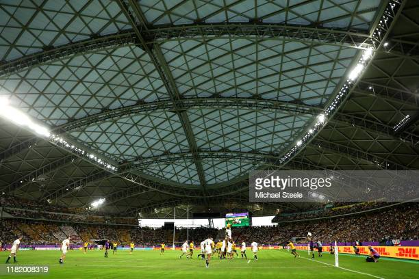 General view inside the stadium as players contest a lineout during the Rugby World Cup 2019 Quarter Final match between England and Australia at...