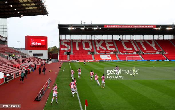 General view inside the stadium as players enter the pitch ahead of the Sky Bet Championship match between Stoke City and Brentford at Bet365 Stadium...