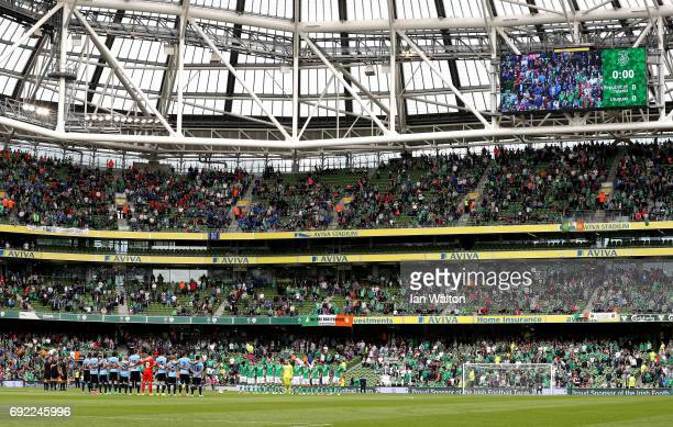 General view inside the stadium as players fans and officals take part in a mintues silence during the International Friendly match between Republic...