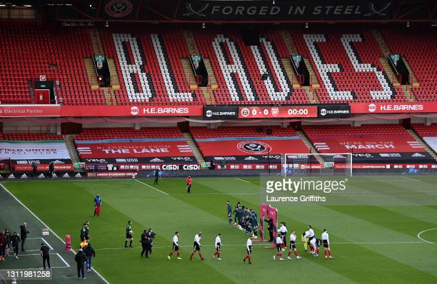 General view inside the stadium as players from both side's enter the pitch prior to the Premier League match between Sheffield United and Arsenal at...