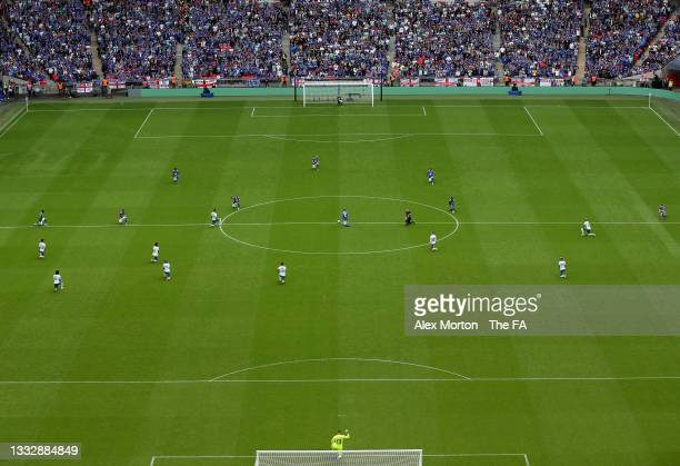 General view inside the stadium as players from both side's take a knee in support of the Black Lives Matter movement prior to The FA Community...