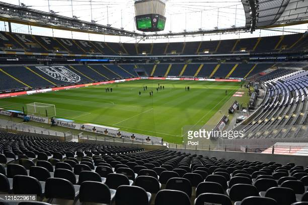 General view inside the stadium as players inspect the pitch ahead of the Bundesliga match between Eintracht Frankfurt and Sport-Club Freiburg at...