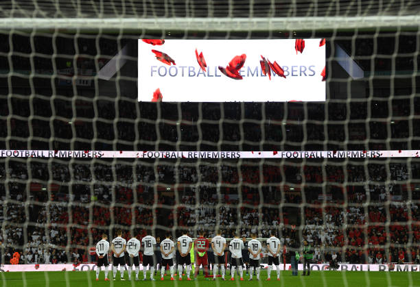 General view inside the stadium as players line up for a minute's silence ahead of Remembrance Sunday prior to the International friendly match...