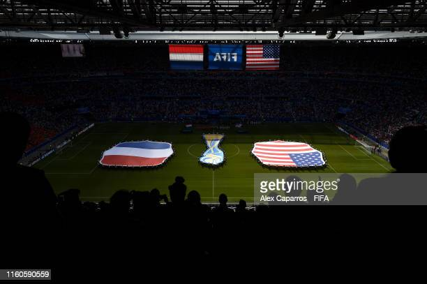 General view inside the stadium as players line up prior to the 2019 FIFA Women's World Cup France Final match between The United States of America...