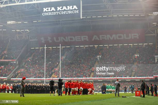 General view inside the stadium as players observe a minutes silence for victims of New Zealand shooting prior to the Guinness Six Nations match...