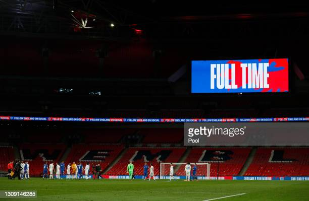 General view inside the stadium as players of both teams interact following the FIFA World Cup 2022 Qatar qualifying match between England and San...