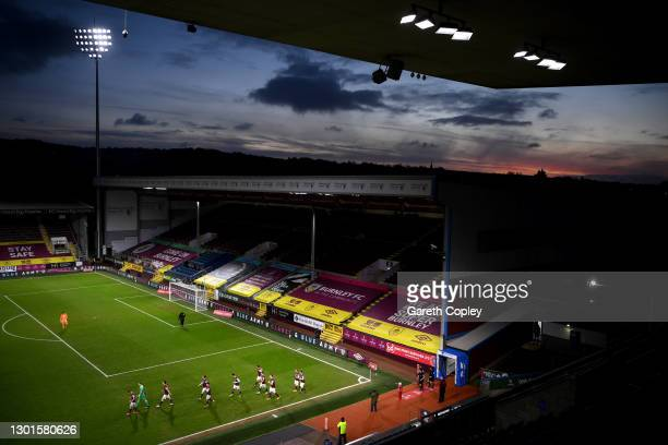 General view inside the stadium as players of Burnley walk out prior to The Emirates FA Cup Fifth Round match between Burnley and AFC Bournemouth at...