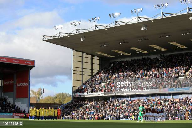 General view inside the stadium as players of Chelsea and Burnley take part in a minute of silence prior to the Premier League match between Burnley...