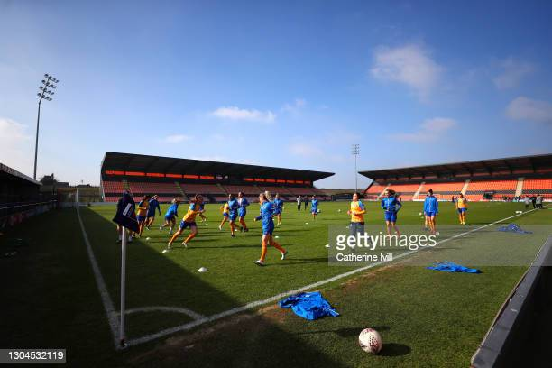 General view inside the stadium as players of Everton warm up prior to the Barclays FA Women's Super League match between Tottenham Hotspur Women and...