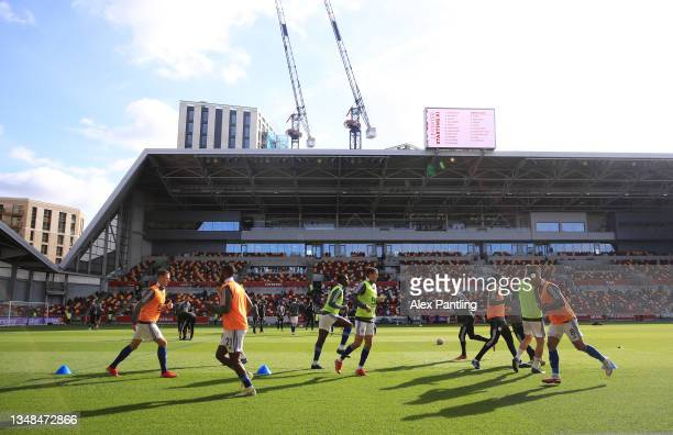 General view inside the stadium as players of Leicester City warm up prior to the Premier League match between Brentford and Leicester City at...