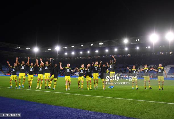 General view inside the stadium as players of Southampton celebrate with the fans following the Premier League match between Leicester City and...