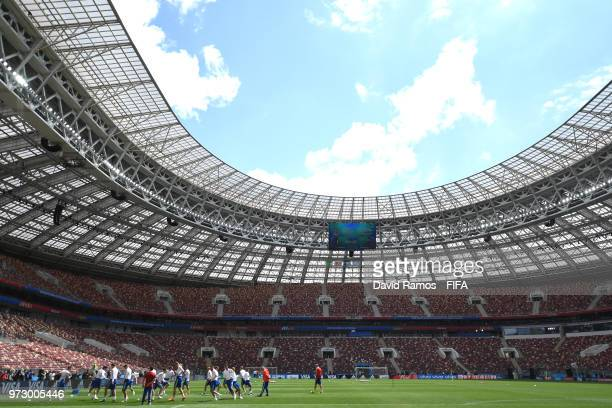 A general view inside the stadium as players take part during a Russia training session ahead of the 2018 FIFA World Cup opening match against Saudia...