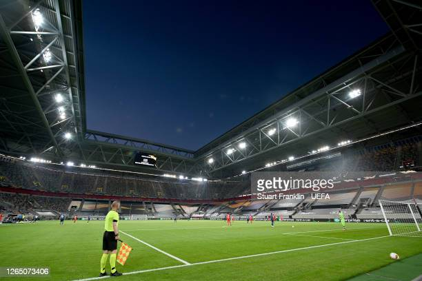 General view inside the stadium as players wait for referee Carlos Del Cerro Grande as he reviews an incident before overturning a penalty decision...