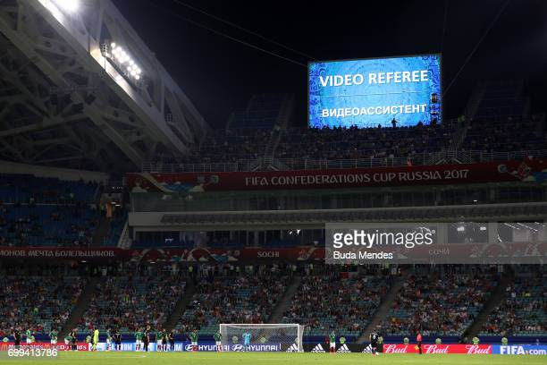 General view inside the stadium as players wait for the VAR to make a choice during the FIFA Confederations Cup Russia 2017 Group A match between...