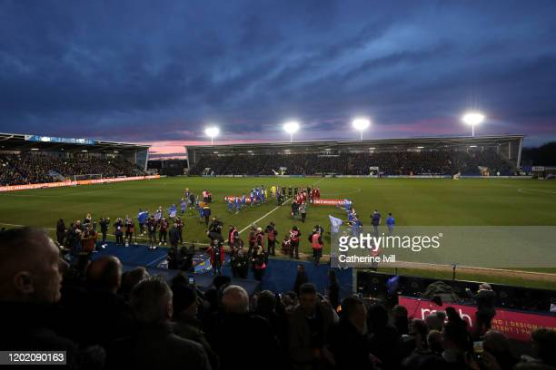 General view inside the stadium as players walk out prior to the FA Cup Fourth Round match between Shrewsbury Town and Liverpool at New Meadow on...