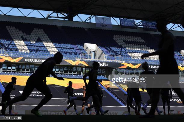 A general view inside the stadium as players warm up during an AS Roma Training Session And Press Conference at MSV Arena on August 05 2020 in...