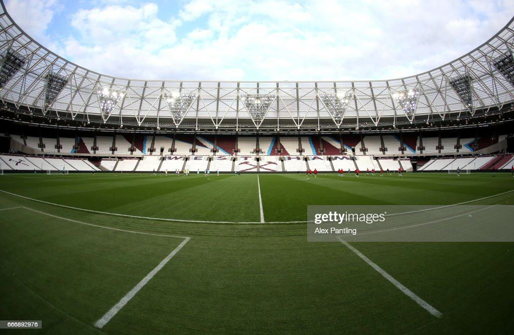 A general view inside the stadium as players warm up prior to the Premier League 2 match between West Ham United and Middlesbrough at London Stadium on April 10, 2017 in Stratford, England.