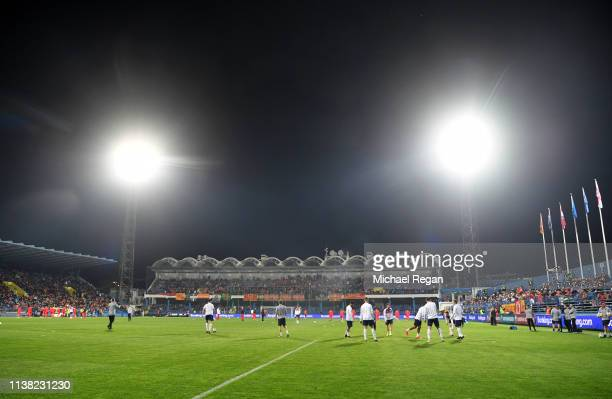 General view inside the stadium as players warm up prior to the 2020 UEFA European Championships Group A qualifying match between Montenegro and...