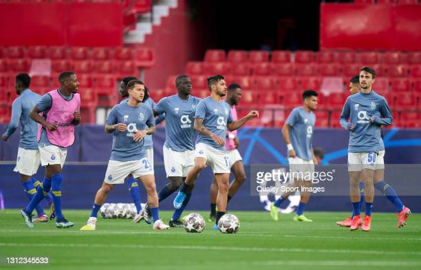 General view inside the stadium as Porto players warm up prior to the UEFA Champions League Quarter Final Second Leg match between Chelsea FC and FC...