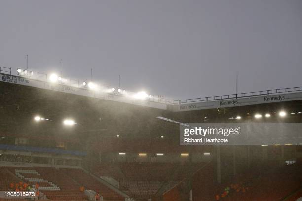 General view inside the stadium as rain falls prior to the Premier League match between Sheffield United and AFC Bournemouth at Bramall Lane on...