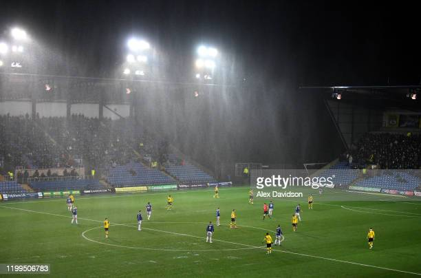 General view inside the stadium as rain pours during the Sky Bet Leauge One match between Oxford United and Ipswich Town at Kassam Stadium on January...