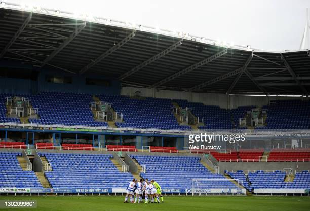 General view inside the stadium as Reading huddle on the pitch prior to the Barclays FA Women's Super League match between Reading Women and Everton...