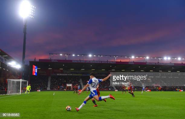 General view inside the stadium as Reece James of Wigan Athletic crosses the ball during The Emirates FA Cup Third Round match between AFC...