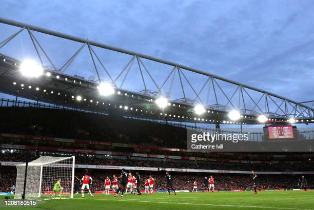 General view inside the stadium as Richarlison of Everton scores his team's second goal during the Premier League match between Arsenal FC and...