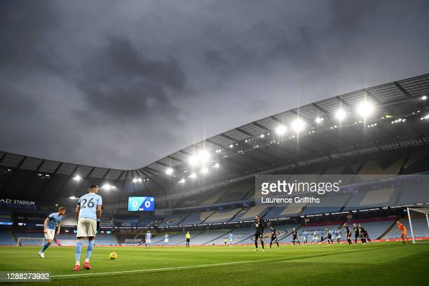 General view inside the stadium as Riyad Mahrez and Kevin De Bruyne of Manchester City stand over a free kick during the Premier League match between...