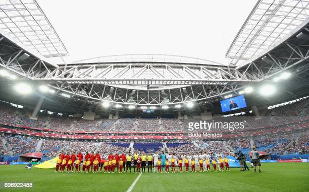 General view inside the stadium as Russia and New Zealand line up prior to the FIFA Confederations Cup Russia 2017 Group A match between Russia and...