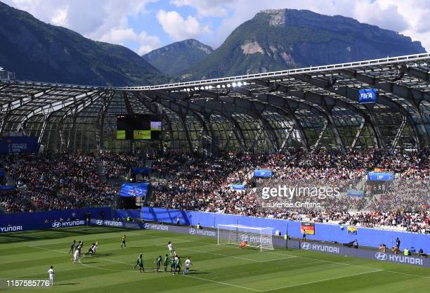 General view inside the stadium as Sara Daebritz of Germany scores her team's second goal during the 2019 FIFA Women's World Cup France Round Of 16...