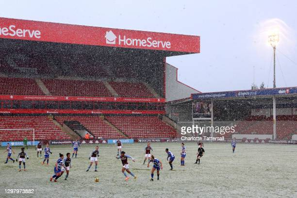 General view inside the stadium as Shania Hayles of Aston Villa runs with the ball during the Barclays FA Women's Super League match between Aston...