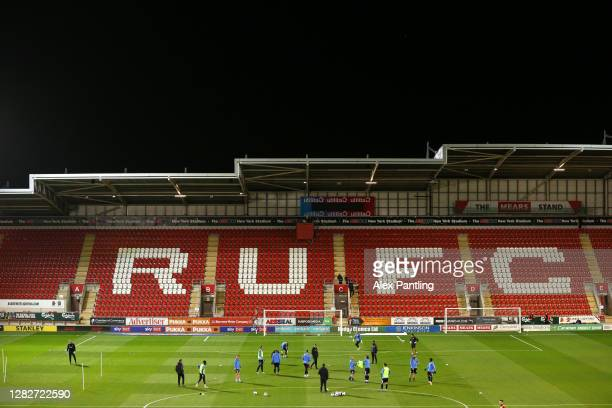 General view inside the stadium as Sheffield Wednesday players warm up prior to the Sky Bet Championship match between Rotherham United and Sheffield...