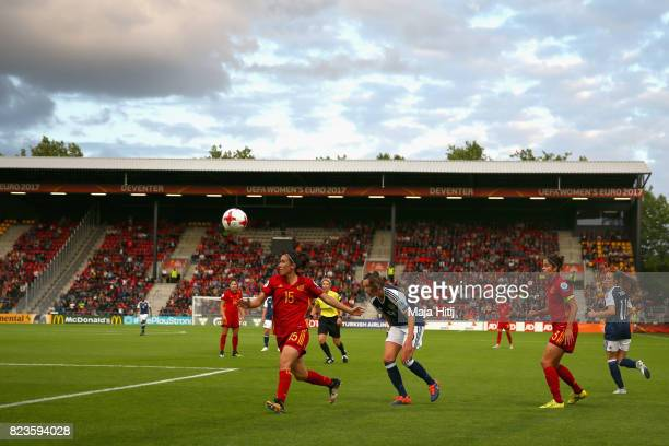 General view inside the stadium as Silvia Meseguer of Spain clears the ball while under pressure from Caroline Weir of Scotland during the Group D...
