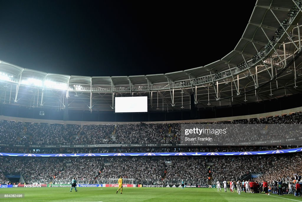 General view inside the stadium as some of the flood lights go out during the UEFA Champions League Group G match between Besiktas and RB Leipzig at Besiktas Park on September 26, 2017 in Istanbul, Turkey.