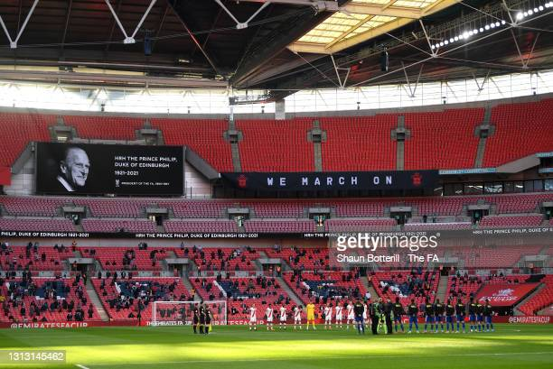 General view inside the stadium as Southampton and Leicester City players observe a moment of silence in memory of Prince Philip, Duke of Edinburgh,...