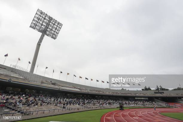 General view inside the stadium as students take the UNAM admission exam in the stands while following the preventive measuress to avoid Covid-19 at...
