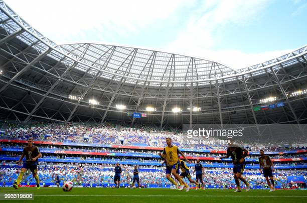 General view inside the stadium as Sweden players warm up prior to the 2018 FIFA World Cup Russia Quarter Final match between Sweden and England at...