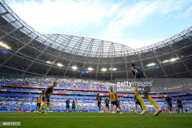 General view inside the stadium as Sweden warm up prior to the 2018 FIFA World Cup Russia Quarter Final match between Sweden and England at Samara...