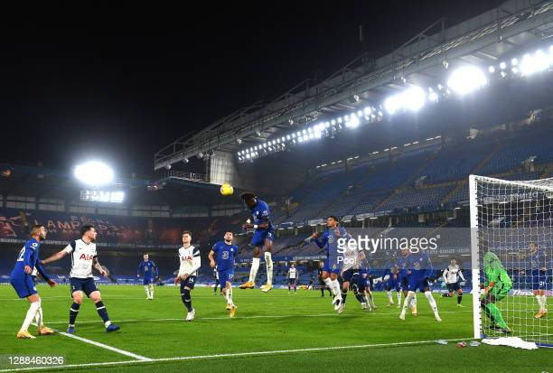 General view inside the stadium as Tammy Abraham of Chelsea heads the ball clear during the Premier League match between Chelsea and Tottenham...
