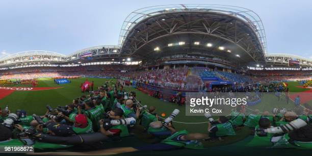 General view inside the stadium as team line up prior to the 2018 FIFA World Cup Russia group G match between Belgium and Tunisia at Spartak Stadium...