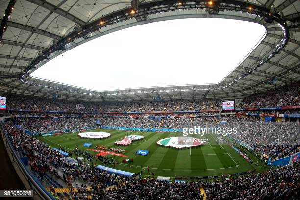 General view inside the stadium as team line up prior to the 2018 FIFA World Cup Russia group F match between Korea Republic and Mexico at Rostov...