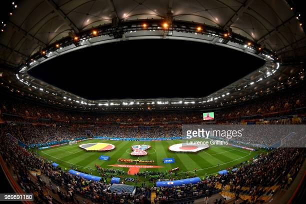 General view inside the stadium as team sline up prior to the 2018 FIFA World Cup Russia Round of 16 match between Belgium and Japan at Rostov Arena...