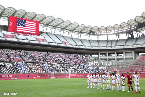 General view inside the stadium as Team United States stand for the national anthem prior to the Women's Football Group G match between United States...