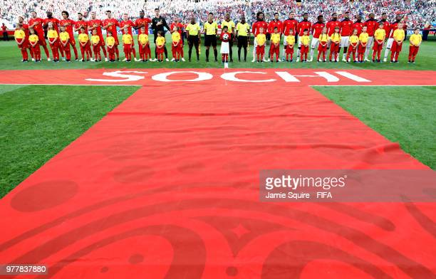 General view inside the stadium as teams line up ahead of the 2018 FIFA World Cup Russia group G match between Belgium and Panama at Fisht Stadium on...