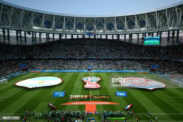 General view inside the stadium as teams line up during the 2018 FIFA World Cup Russia group D match between Argentina and Croatia at Nizhny Novgorod...