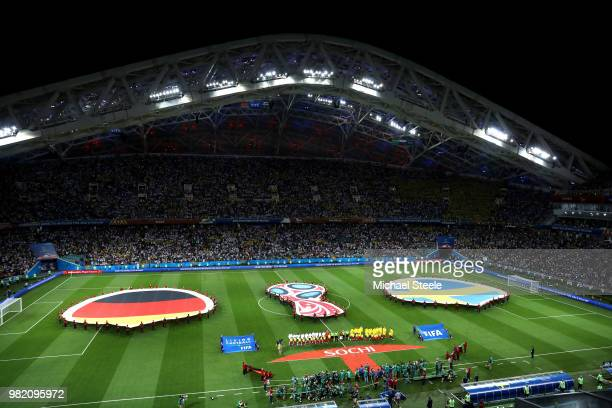 General view inside the stadium as teams line up during the 2018 FIFA World Cup Russia group F match between Germany and Sweden at Fisht Stadium on...