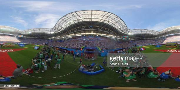 General view inside the stadium as teams line up during the 2018 FIFA World Cup Russia Round of 16 match between France and Argentina at Kazan Arena...