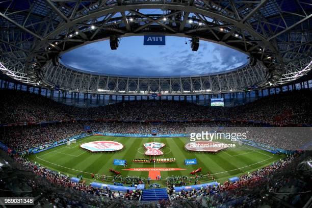 General view inside the stadium as teams line up during the 2018 FIFA World Cup Russia Round of 16 match between Croatia and Denmark at Nizhny...