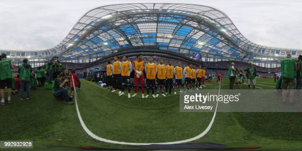 General view inside the stadium as teams line up during the 2018 FIFA World Cup Russia Quarter Final match between Uruguay and France at Nizhny...
